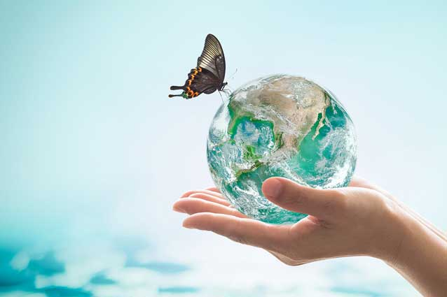 image of globe and butterfly, world water day