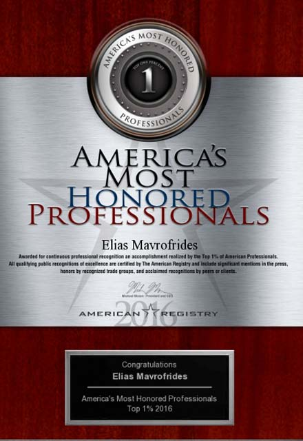 image of 2016 americas most honored professionals award, top 1 percent