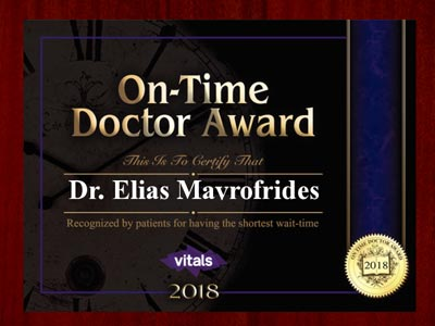 image of 2018 vitals, on time physicians award, doctor elias mavrofrides