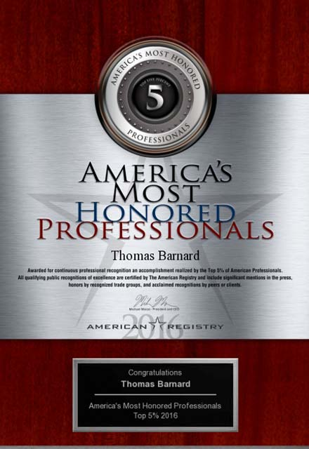 image of 2016 america's most honored professionals award