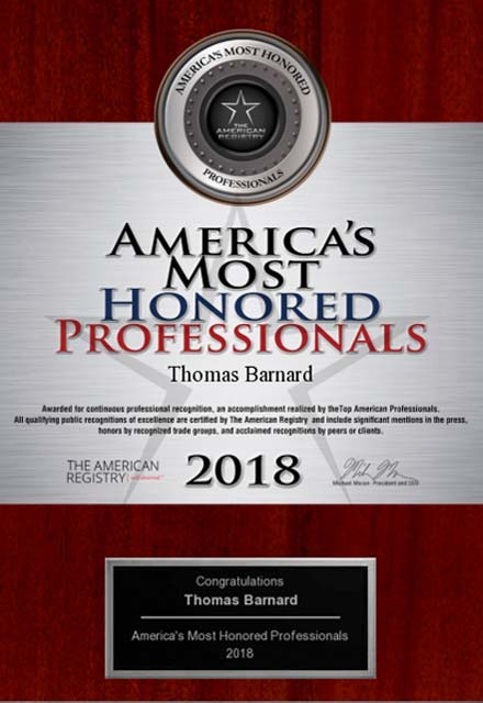 image of 2018 america's most honored professionals award