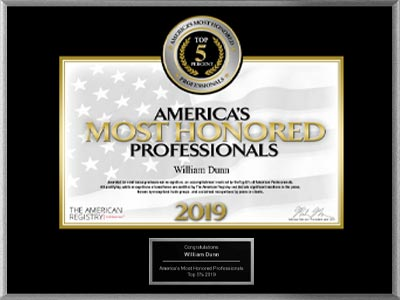 image of americas most honored professional award, 2019, top 5 percent